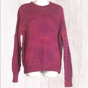 Band of Gypsies Fuchsia Knit Crew Neck Sweater